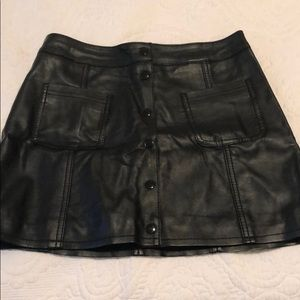 H&M Divided Black Faux Leather Snap Up Skirt